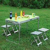 Усиленный стол для пикника раскладной с 4 металлическими стульями Easy Camping (Зеленый)