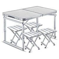 Усиленный стол для пикника раскладной с 4 металлическими стульями Easy Camping (Белый)