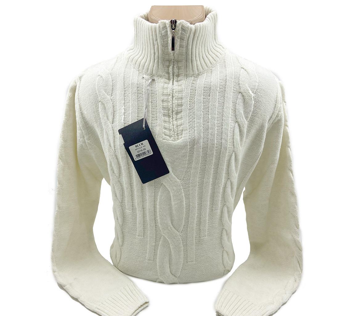 Шерстяной мужской свитер Blur k0518/5 Молочный XXL