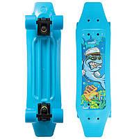 Скейтборд пластиковый FISH Duckbill 23in SHARK (ABEC-7, колесо PU 60x45мм 82А, голубой)