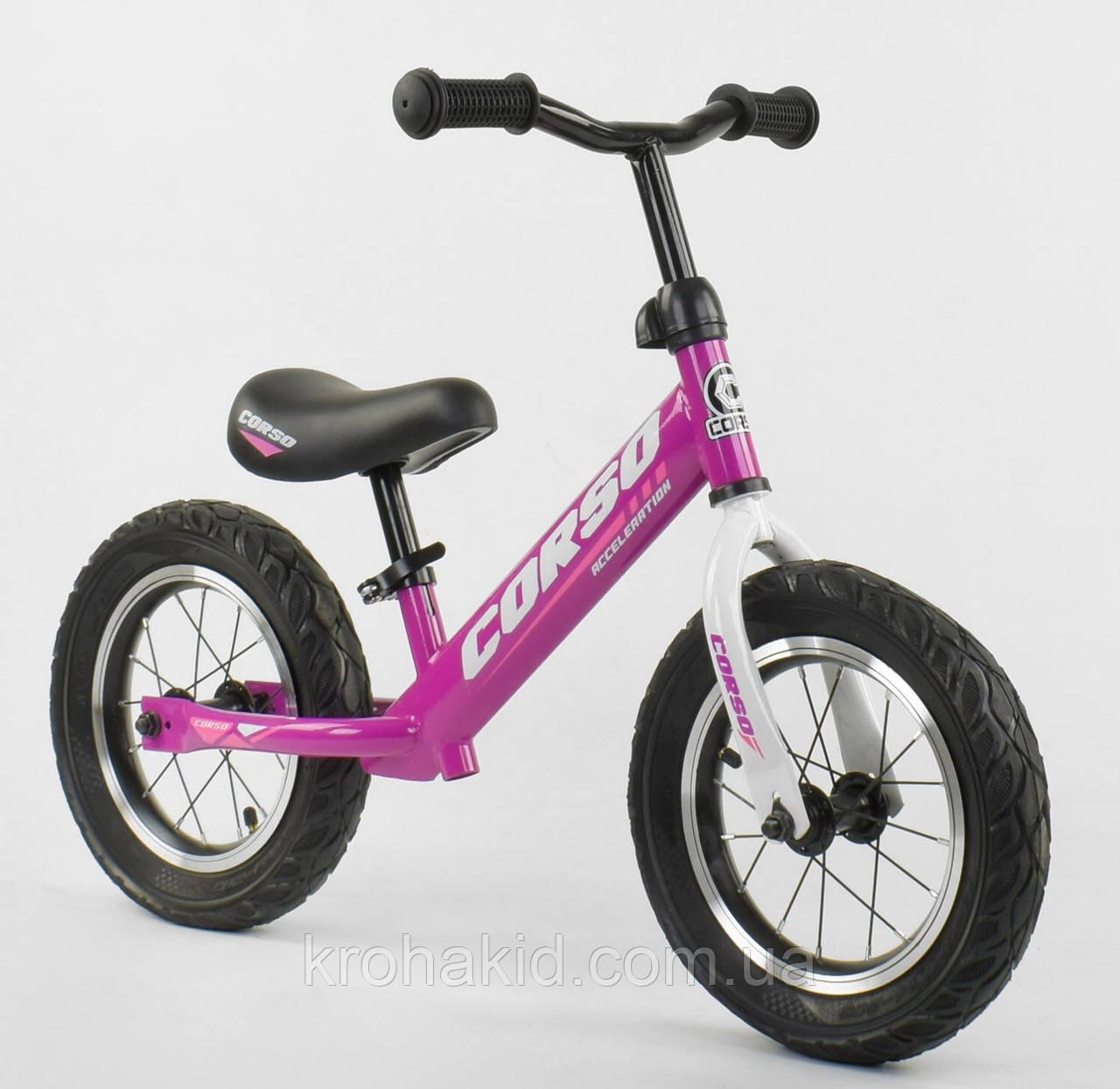 """Детский велобег """"CORSO"""" 54307, стальная рама, надувные колёса, размер колес - 12 (фиолетовый)"""