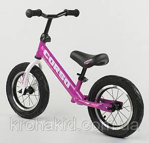 """Детский велобег """"CORSO"""" 54307, стальная рама, надувные колёса, размер колес - 12 (фиолетовый), фото 2"""