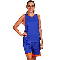 Форма баскетбольная женская Lingo Sport (полиэстер, размер L-3XL, 155-175см) Синий-оранжевый L (рост 155-160) PZ-LD-8217_1