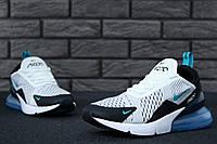 Чоловічі кросівки Nike Air Max 270 найк аір макс 270 білі, синій балон (ТОП репліка ААА+), фото 1