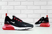 Чоловічі кросівки Nike Air Max 270 найк аір макс 270 чорні з червоним (ТОП репліка ААА+), фото 1