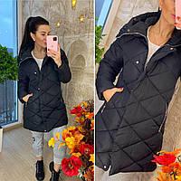Стёганное пальто женское демисезонное с капюшоном