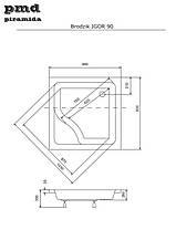 Душевой квадратный акриловый поддон IGOR 90х90х35 BESCO PMD PIRAMIDA с сидением и ножками, фото 3