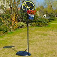 Стойка баскетбольная со щитом (мобильная) HIGH QUALITY (щит-HDPE 80x56x14см, кольцо-сталь (16мм) d-38см, регул.высота 165-225см) PZ-BA-S016