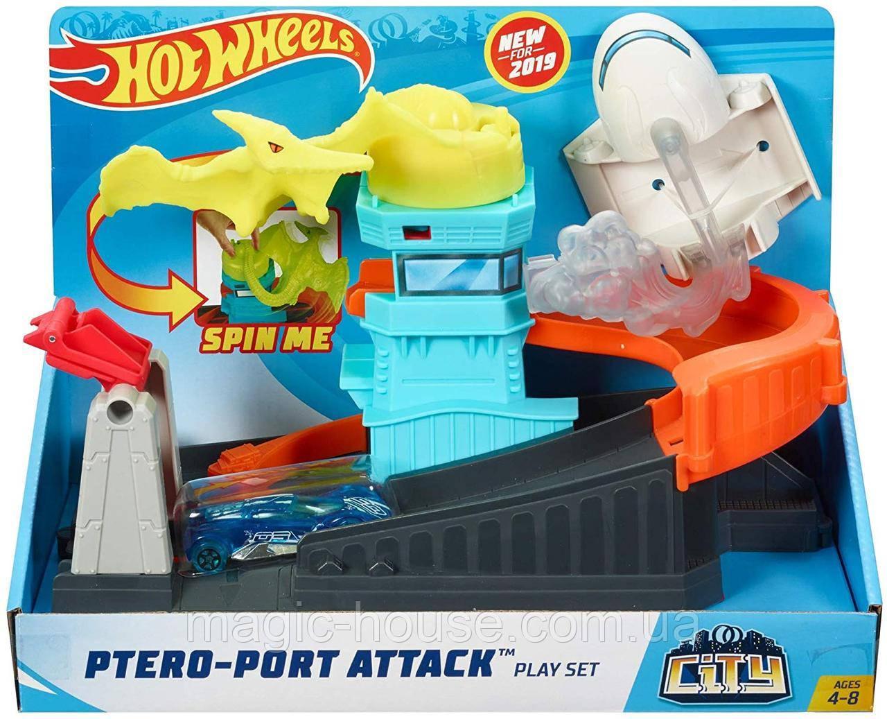 Трек Хот Вилс Монстры в городе Атака птеродактиляПтеро Hot Wheels Ptero Port Attack Оригинал от Mattel