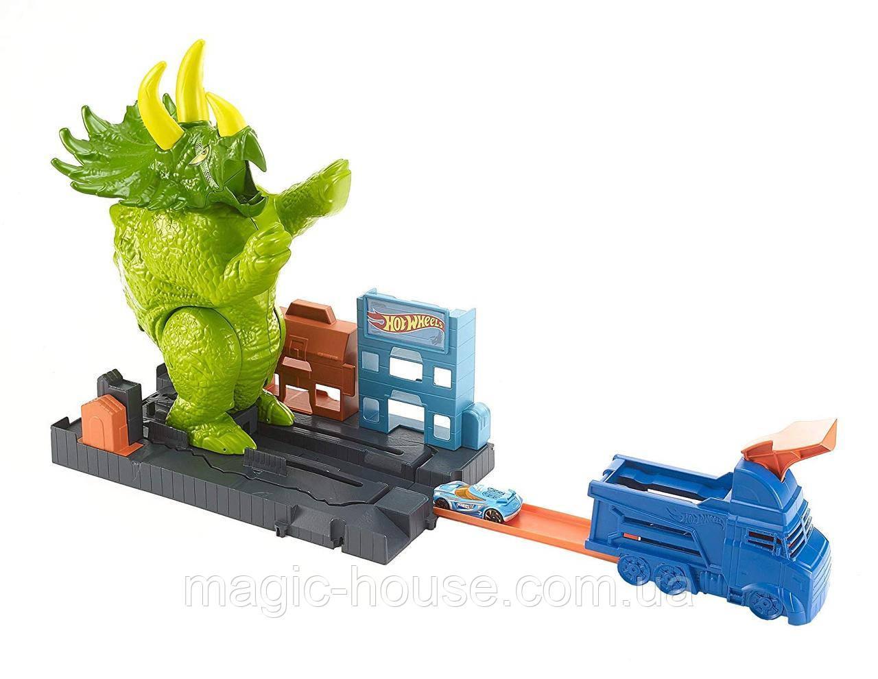 Трек Хот Вилс Разгневанный Трицератопс Hot Wheels Smashin Triceratops Оригинал от Mattel