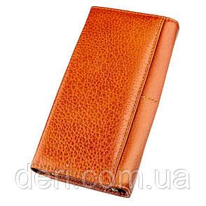 Кошелек горизонтальный со стразом женский кожаный оранжевый, фото 2