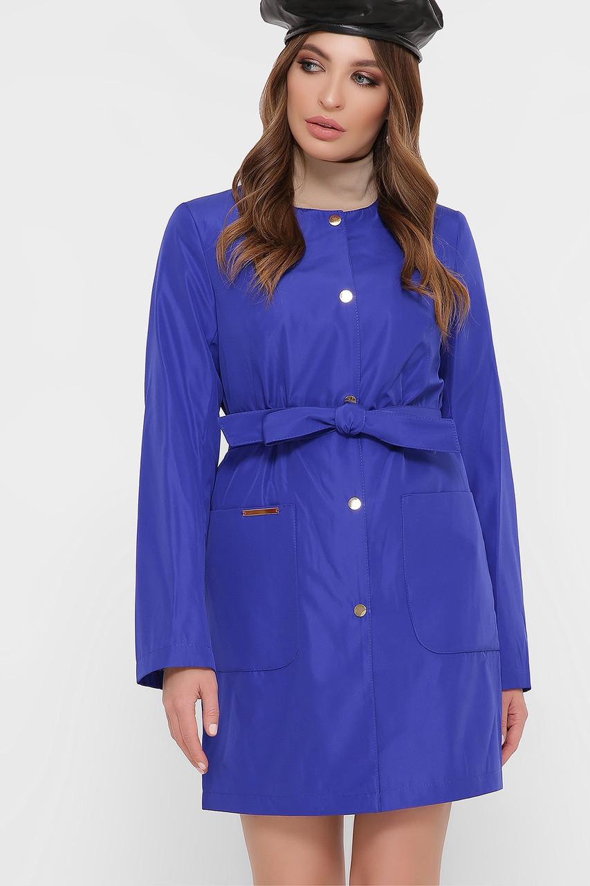 Плащ женский с накладными карманами синий Александра