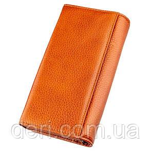 Кошелек горизонтальный женский кожаный оранжевый, фото 2