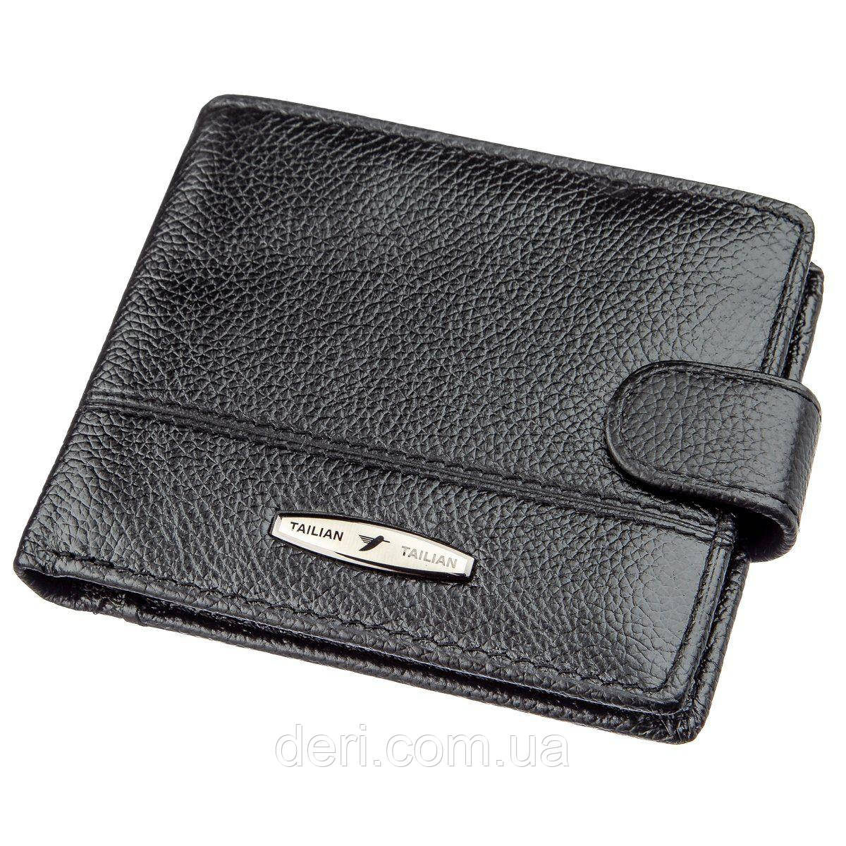 Стильный портмоне мужской флотар кожаный черный TAILIAN