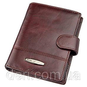Кошелек мужской кожаный со встроенной обложкой для паспорта TAILIAN 18992 Малиновый, Малиновый, фото 2