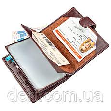 Кошелек мужской кожаный со встроенной обложкой для паспорта TAILIAN 18992 Малиновый, Малиновый, фото 3