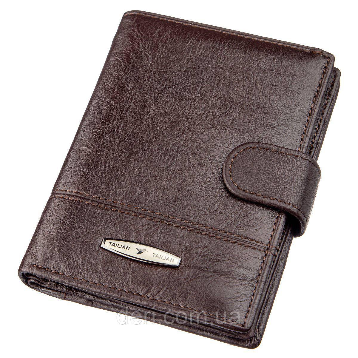 Кошелек мужской кожаный со встроенной обложкой для паспорта TAILIAN 18993 Темно-коричневый, Коричневый