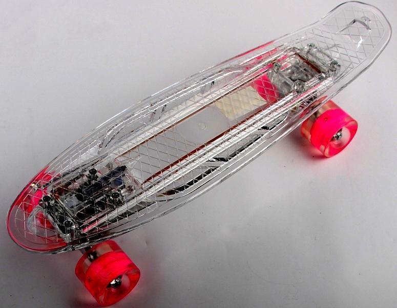 "Прозрачный penny board ""light side"", прозрачный, дека и колеса светятся, встроенная батарея"