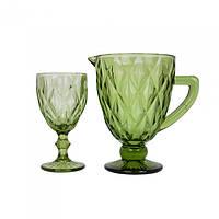 Набор графин и 6 бокалов Rhombus зеленый SKL11-223162