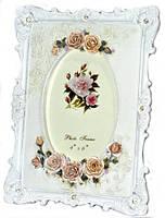 Фоторамка ажурная классическая белая с цветами и стразами 25х20 см