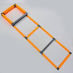 Координационная лестница дорожка с барьерами 10 перекладин (пластик, 5,5x51см, оранжевый) PZ-FB-0502