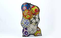 Сетка-сумка для мячей (полиэстер сетка, на 12 мячей, 96х70см, черный) PZ-FB-5577