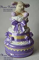 """Торт з памперсів """"Овечка"""". Подарунок на виписку з пологового будинку."""
