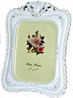 Фоторамка ажурная классическая белая с цветами и стразами 24х19 см