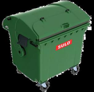 Контейнер мусорный ТБО Sulo 1100 л с куполообразной крышкой зеленый (модель крышка в крышке)