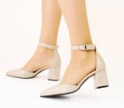 Босоножки женские белые кожаные на каблуке