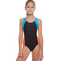Купальник для плавания слитный детский Liphs размер M-2XL 100-140см Черный-оранжевый-голубой M(100-110см) PZ-6904_1