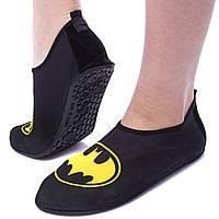 Обувь Skin Shoes для спорта и йоги BATMAN размер S-3XL-34-45 длина стопы 20-29см (неопрен, т.серый-желтый) PZ-PL-1813