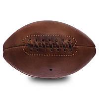 Мяч для американского футбола кожаный VINTAGE Mini American Football (кожа, d-11. l-19см, коричневый) PZ-F-0263