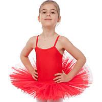 Купальник для танцев с юбкой-пачкой детский Zelart размер XS-XL 100-165см Красный XS 100-110 PZ-CO-9027_1