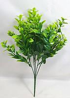 Зеленый цветной самшит 34см искусственный куст для оформления букетов, фото 1