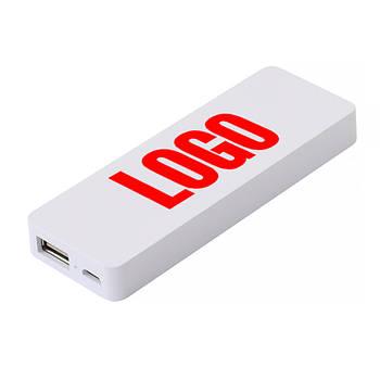 Power Bank пластиковый 2300 mAh белый под нанесение логотипа (Е123-2300)
