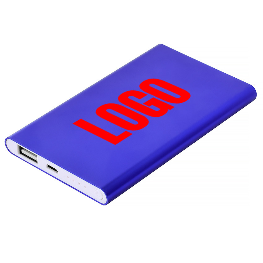 Повербанк металлический 4000 mAh синий под гравировку логотипа (Е122-3-4000)