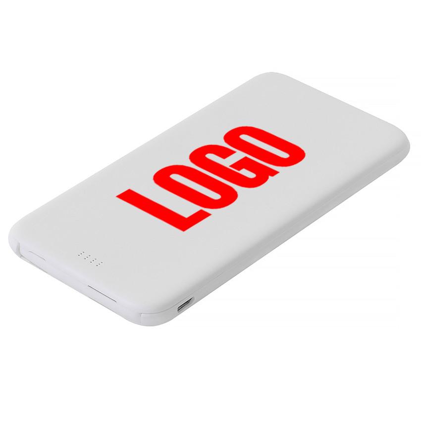 Повербанк пластиковый 5000 mAh белый под печать логотипа (Е505-5000)