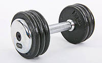 Гантель цельная профессиональная стальная (1шт) 10кг (сталь, сталь хромированная, вес 10кг) PZ-TA-7231-10