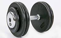 Гантель цельная профессиональная стальная (1шт) 25кг (сталь, сталь хромированная, вес 25кг) PZ-TA-7231-25