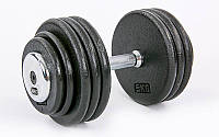 Гантель цельная профессиональная стальная (1шт) 40кг (сталь, сталь хромированная, вес 40кг) PZ-TA-7231-40