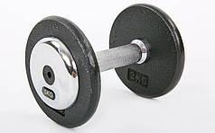 Гантель цельная профессиональная стальная (1шт) 5кг (сталь, сталь хромированная, вес 5кг) PZ-TA-7231-5