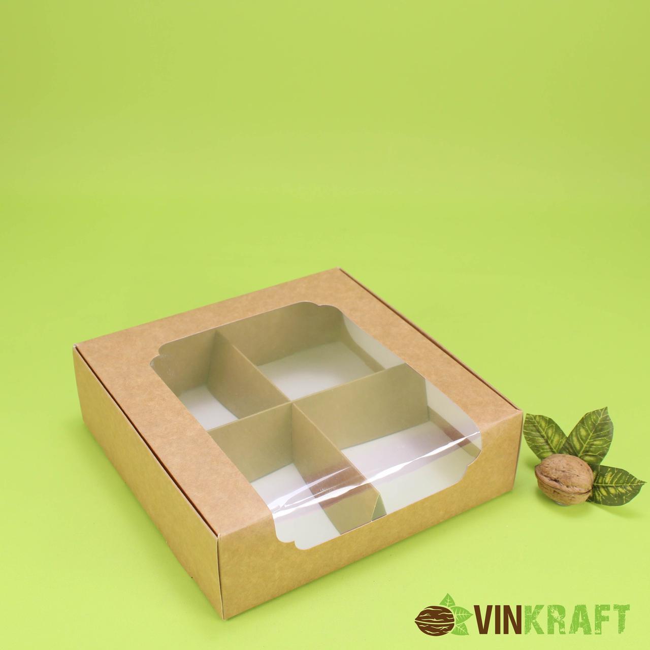 Коробка 200*200*60 для десертів з вікном, крафт