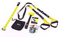 Петли TRX функциональный тренажер KIT P1 (петли подвесные, дверное крепление, DVD, сумка, черный-желтый) PZ-FI-3723-02