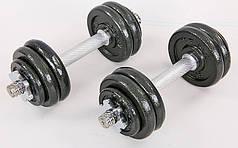 Гантели разборные (2шт) стальные 15кг (2 грифа l-30см, стальные блины (1,25+1,25+0,5)*4)) PZ-TA-8211-15