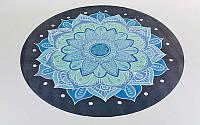 Коврик для йоги круглый Замшевый каучуковый двухслойный без чехла 3мм (диаметр 150см, черный-голубой, с принтом Ледяной Цветок) PZ-FI-6218-5