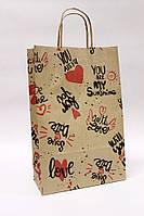 Бумажные крафт пакеты с ручками 24*35