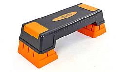 Степ-платформа (пластик, покрытие 70(75)Lx25Wx12(23)Hсм, черный-оранжевый) PZ-FI-6291
