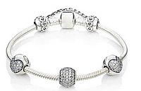 Браслет Pandora stil. серебро 925, камни Цирконий. Отличное качество.