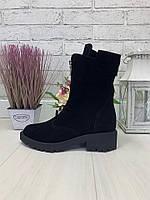 41 р. Ботинки женские деми черные замшевые на низком ходу, демисезонные, из натуральной замши, замша, фото 1